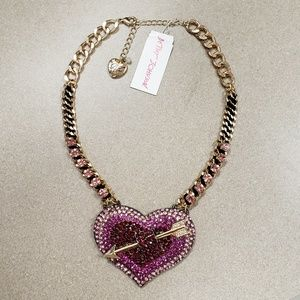 NWT Betsey Johnson Pave Heart Necklace with Arrow